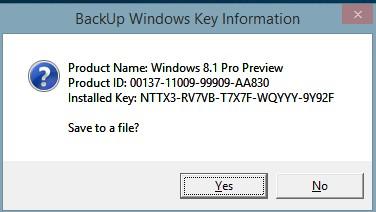 Backup der installierten Seriennummer erstellen Windows 8 und 8.1