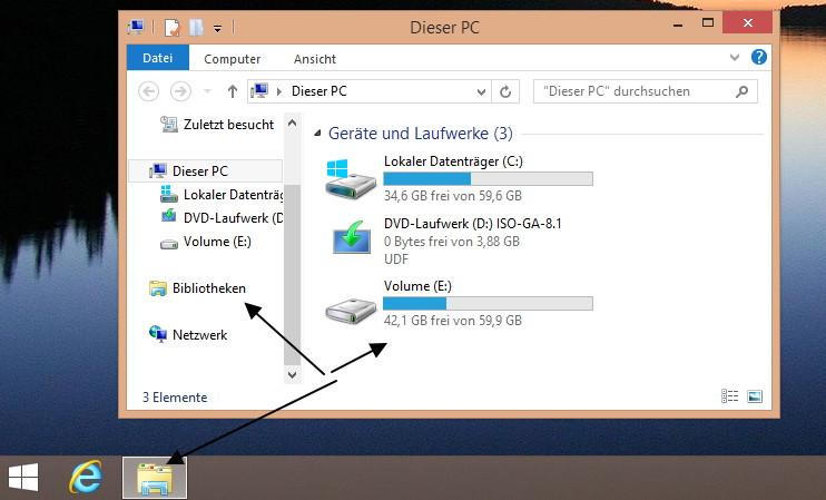 Dieser PC (Computer) trotz Bibliotheken von der Taskleiste aus starten Windows 8.1