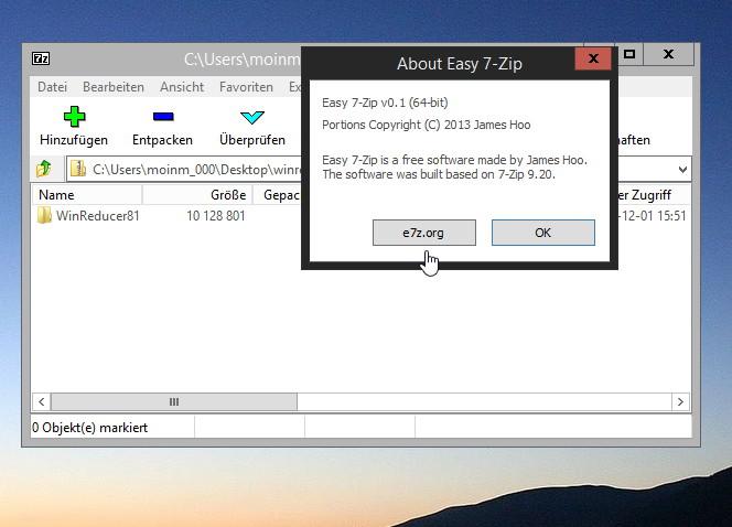Easy 7-Zip als veränderte Version von 7-Zip