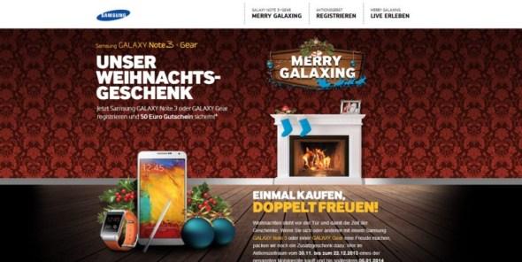 Merry Galaxing – Samsung verschenkt 50,- Euro beim Kauf eines Galaxy Note 3 oder einer Galaxy Gear Smartwatch