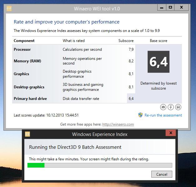 Leistungsindex erstellen mit Winaro WEI Tool Windows 8.1