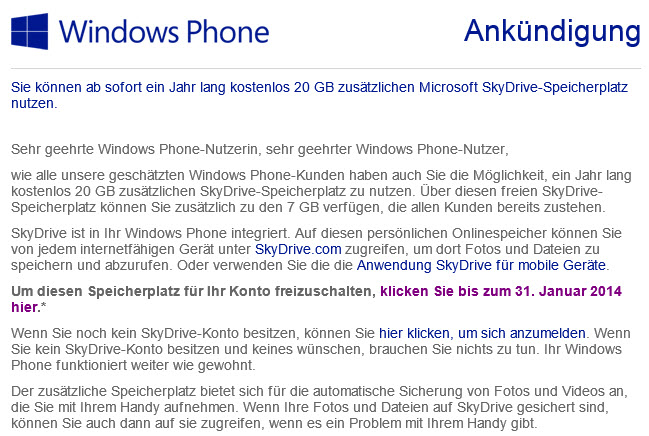 Microsoft verteilt Geschenke – 20 GB SkyDrive-Speicher gratis für Windows Phone User
