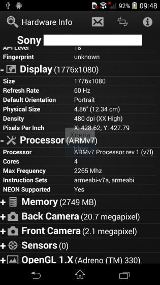 """Weitere Bilder und Informationen zum """"Sony D6503"""" (Sony Xperia Z2) geleakt"""