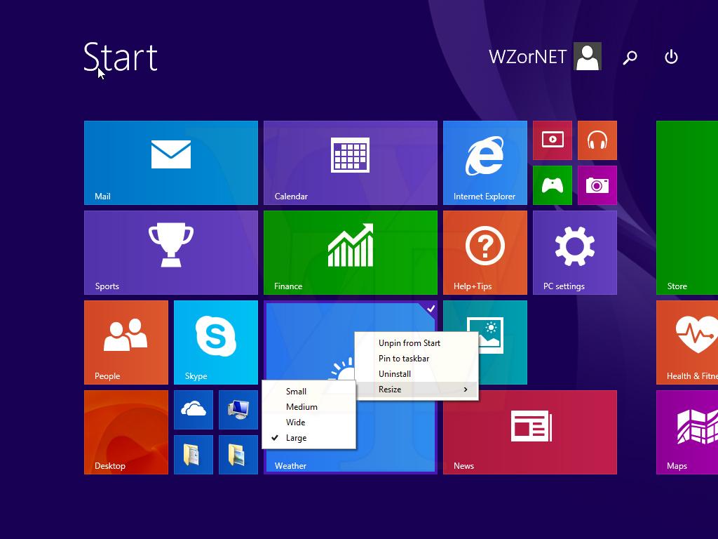 Metro Start -Startmenü- wird mit einem Kontextmenü ausgestattet Windows 8.1