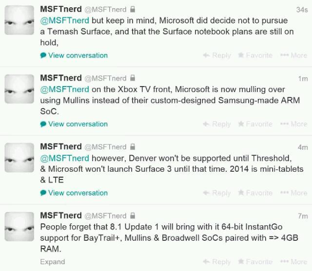 Neue Informationen zum Surface Mini, Surface mit LTE und Surface 3