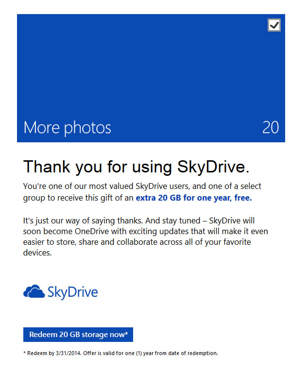 Microsoft verteilt Bonus – 20 GB SkyDrive-Speicher (OneDrive) von Microsoft für ausgewählte User