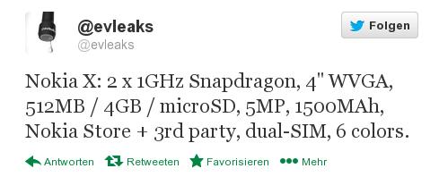 """Spezifikationen des """"Nokia X"""" geleakt"""