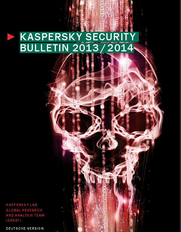 "Kaspersky stellt ""Kaspersky Security Bulletin 2013/2014"" als kostenloses Ebook zur Verfügung"