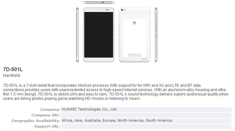 Huawei 7D-501L aufgetaucht – Neues Tablet auf dem MWC 2014 ?