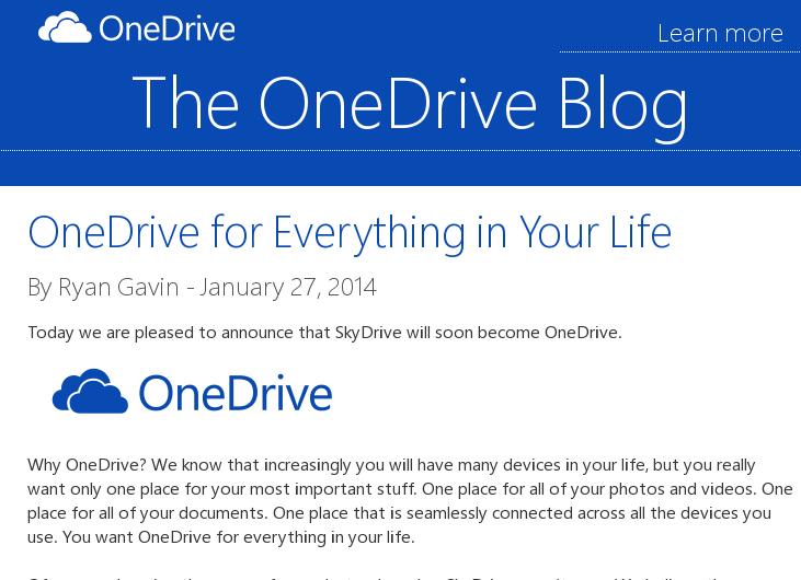 """Microsoft mit Namensänderung – Aus """"SkyDrive"""" wird """"OneDrive"""""""