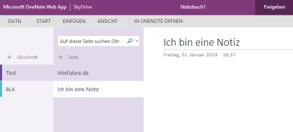 Webversion von OneNote mit neuem Design