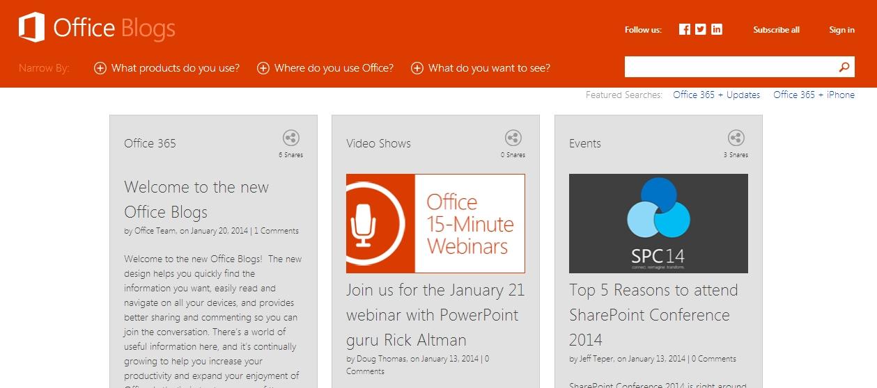[Kurzinfo] Office Blogs bekommen neuen Anstrich