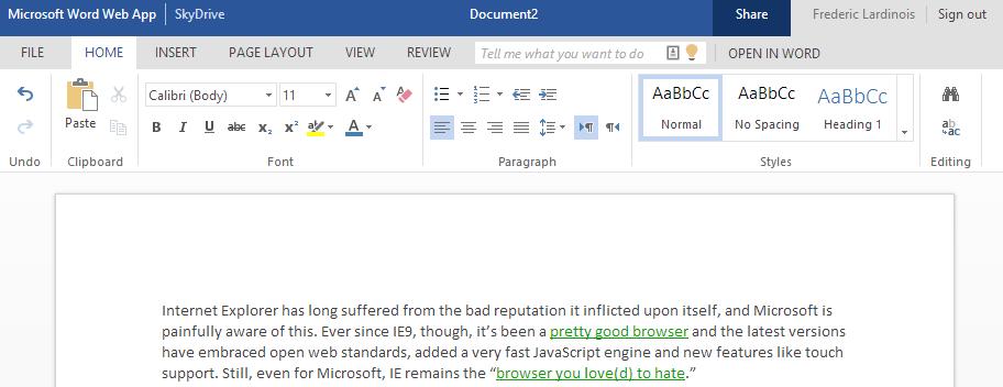 """Microsoft räumt das Design der """"Office Web Apps""""  auf und spendiert neue Hilfefunktion"""
