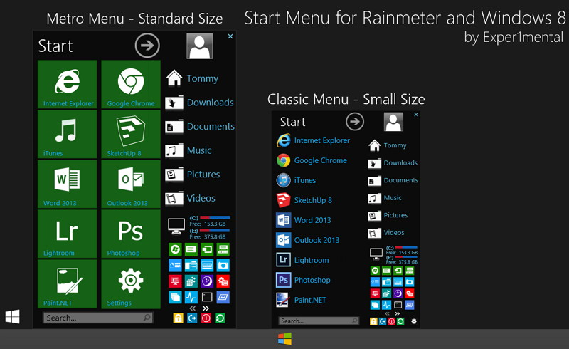 Windows 8 Startmenü mit Rainmeter
