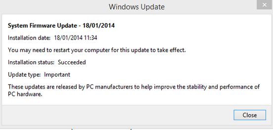 Hinweis nach der Installation des Updates