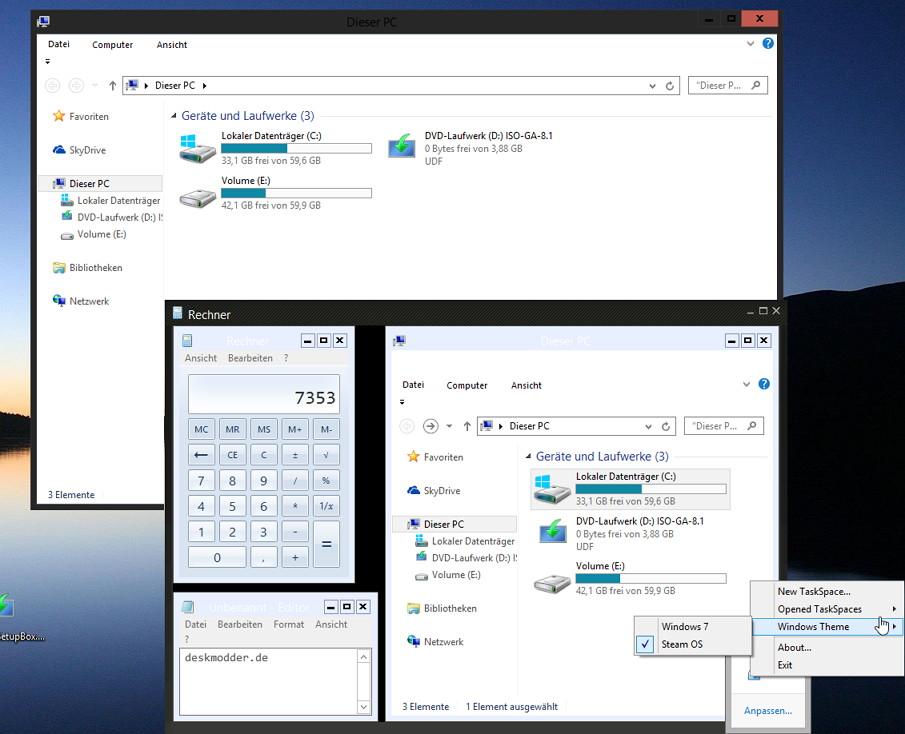 TaskSpace – Mehrere Programme in ein Fenster legen