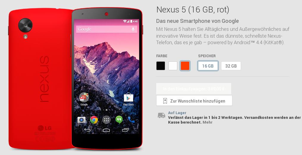 Google präsentiert rotes Nexus 5