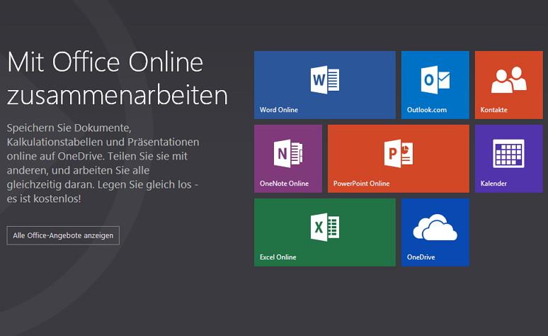 Office Online über die Webseite oder den Microsoft Account starten