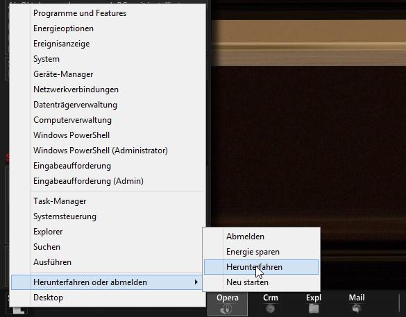 Schnelles Herunterfahren nun auch über die Tastenkombination Win + X  Windows 8.1