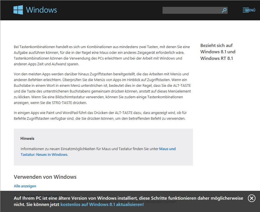 Windows 8.1 mit mehr als 600 Tastaturkombinationen
