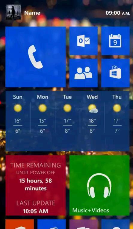 Konzept zu Windows Phone 9 – Transparente Kacheln im Flat-Design