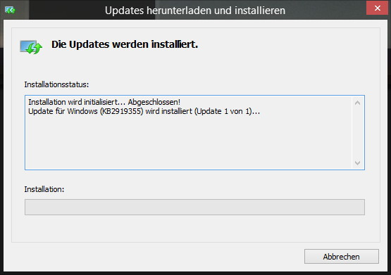 Windows 8.1 Update 1 KB2919355 richtig installieren