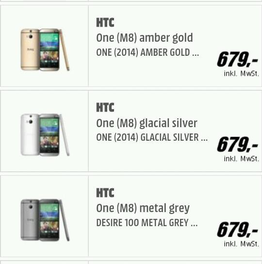 HTC One (M8) bei Media Markt & Saturn für 679,- vorbestellbar