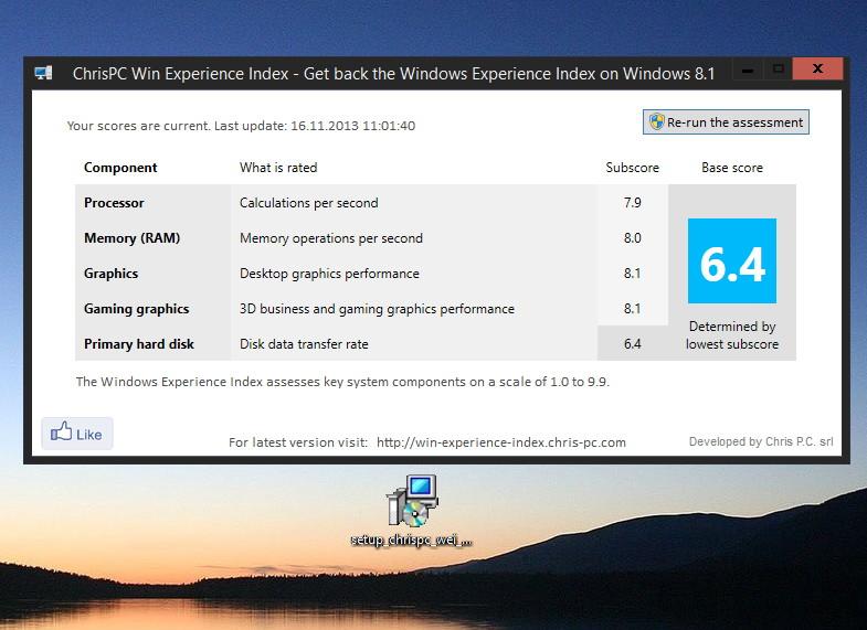 ChrisPC Win Experience Index mit einem Update, um den Leistungsindex zu erstellen unter Windows 8.1