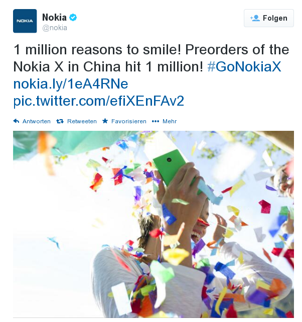 Nokia meldet 1 Millionen Vorbestellungen des Nokia X