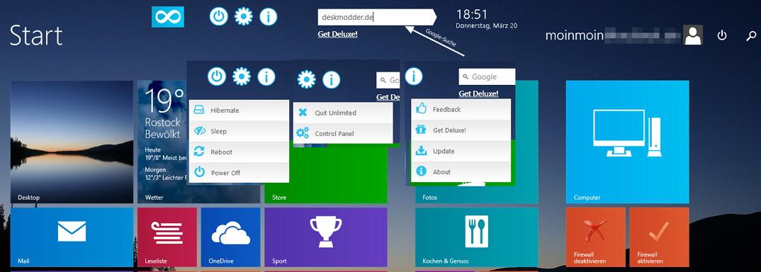 Start Screen Unlimited Eine Dockleiste für das Metro Startmenü in Windows 8.1 und 8