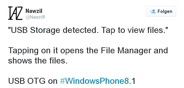 Unterstützt Windows Phone 8.1 USB-Speichermedien ?