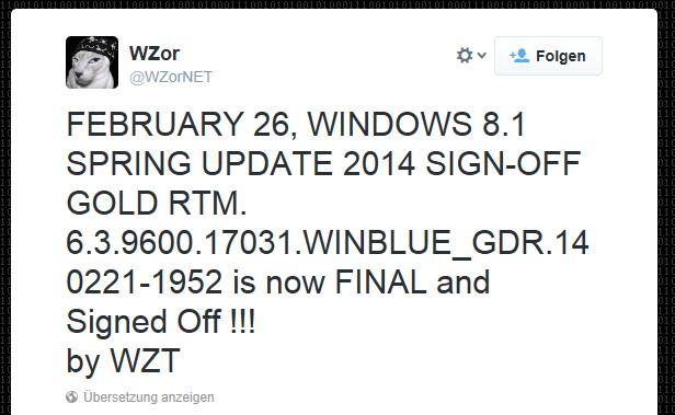 Windows 8.1 Update 1 6.3.9600.17031 ist die RTM