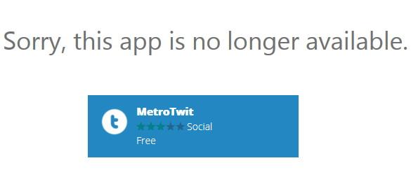 MetroTwit ist nicht mehr im Windows Store erhältlich
