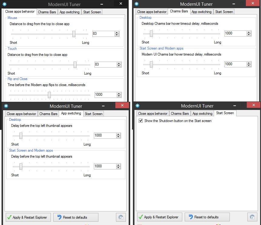 ModernUI Tuner Apps schnell beenden und vieles mehr für Windows 8.1 Update 1