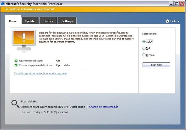 Microsoft Security Essentials demnächst mit Popup-Meldung unter Windows XP