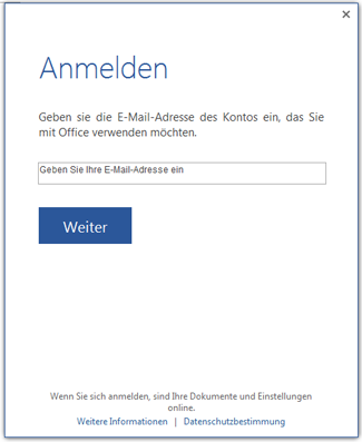 Office 2013  mit einem Microsoft-Konto anmelden deaktivieren