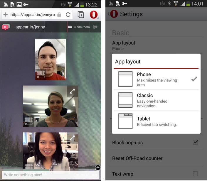 Opera für Android bekommt WebRTC spendiert