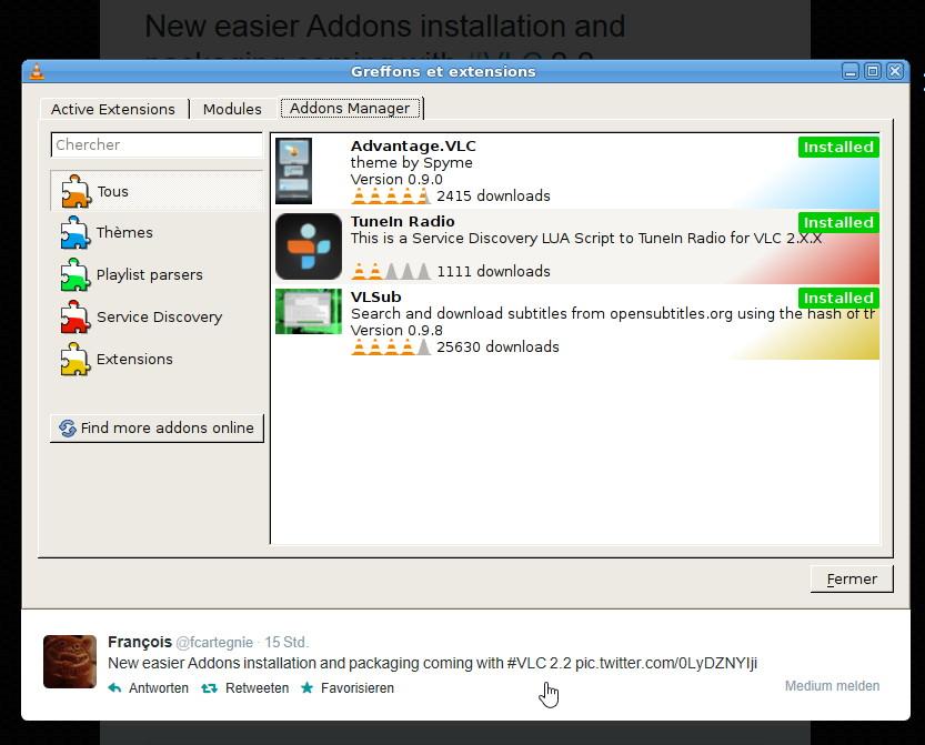 VLC: Addons werden in der Version 2.2 leichter zu handhaben sein