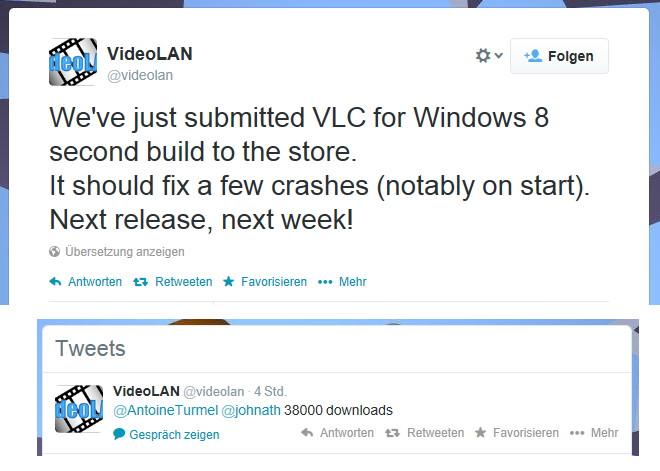 VLC App für Windows 8.x mit einem Update und einer Statistik