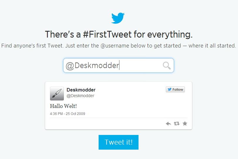 Finde den ersten Tweet von deinem oder einem anderen Twitter Account