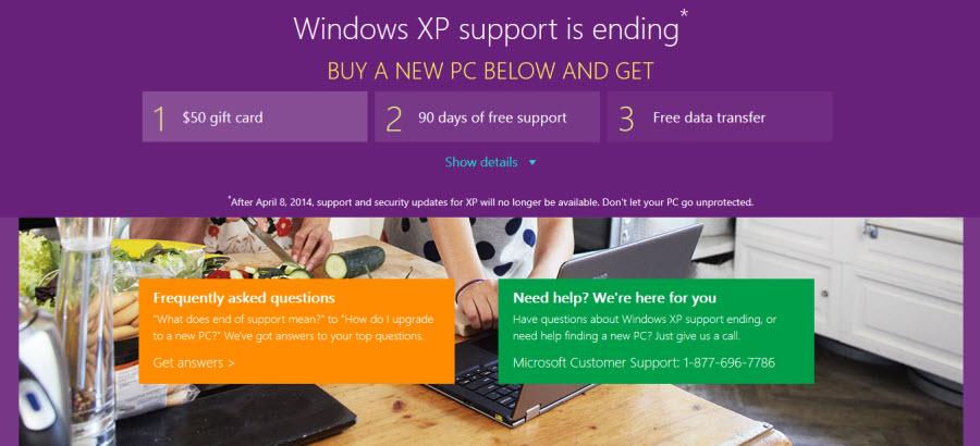Microsoft lockt mit Rabatten zum Umstieg von Windows XP auf Windows 8.1