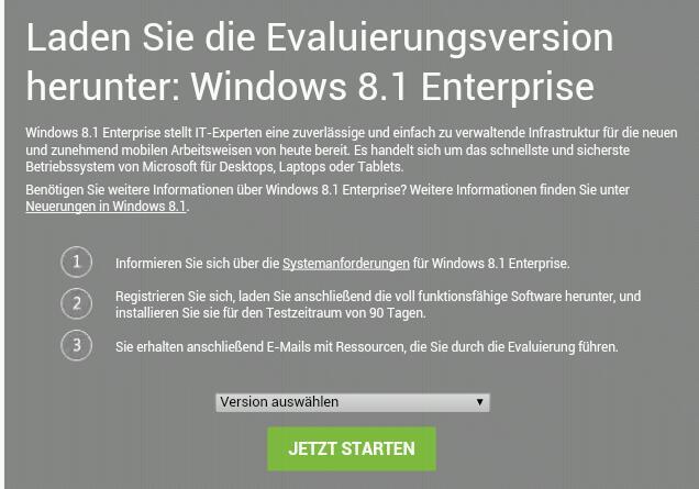 90 Tage Testversion der Windows 8.1 Update 1Enterprise steht als ISO zum Download bereit