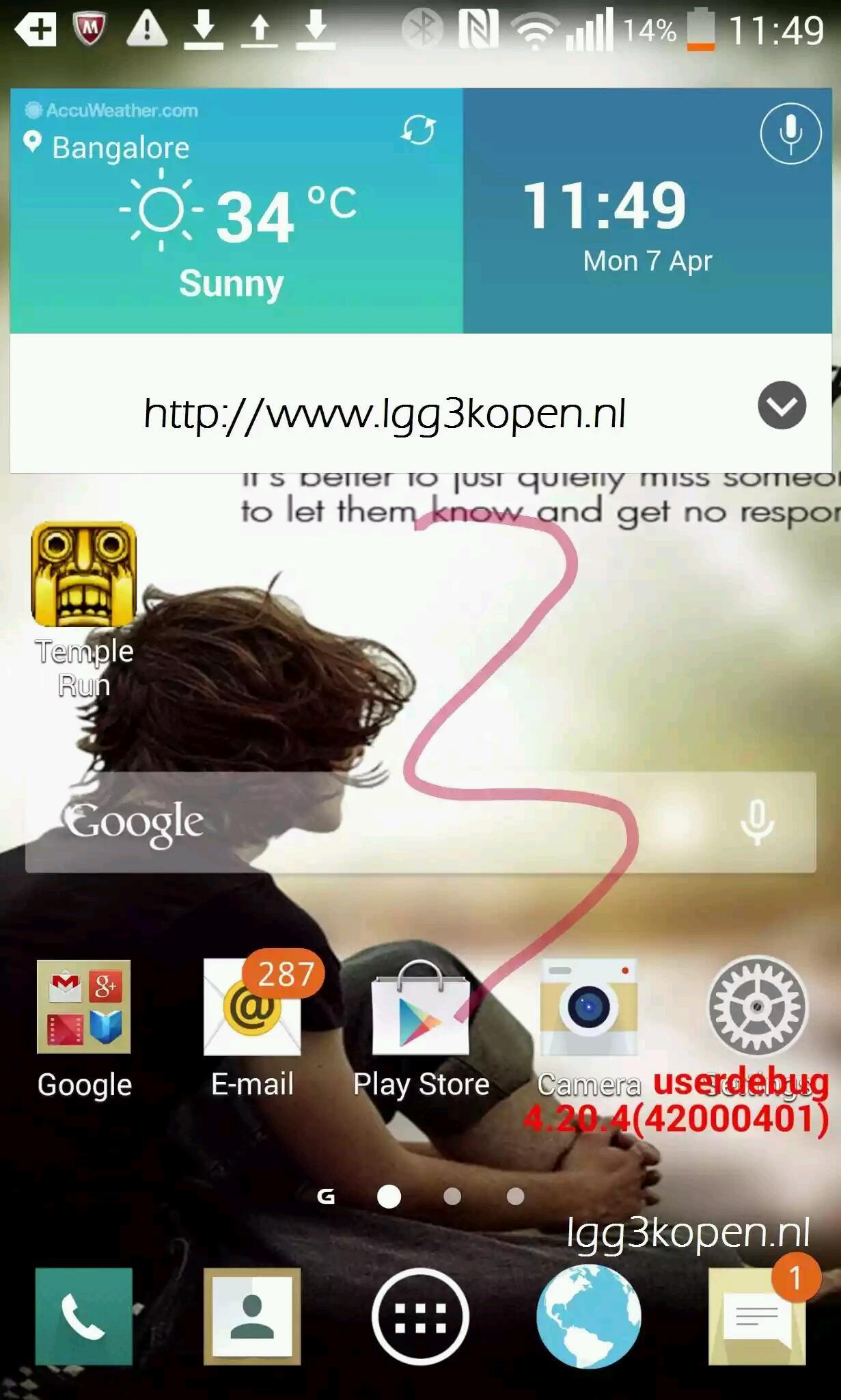 Screenshot der neuen Oberfläche vom LG G3 zeigt Flat-Design