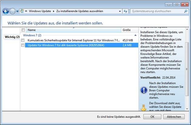 Update (KB2952664) für Windows 7 sorgt für Verwirrung