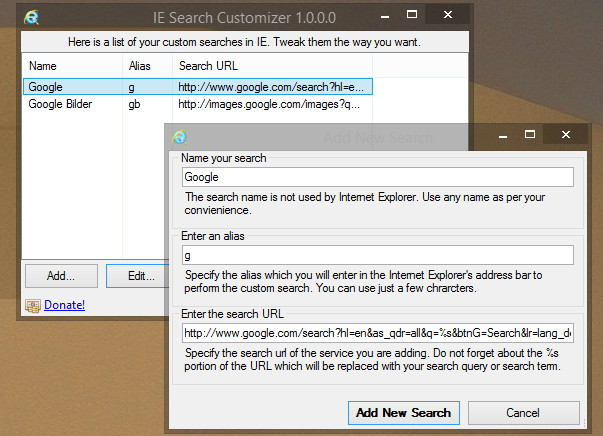 IE Search Customizer – Bing in Google Suche ändern – Internet Explorer