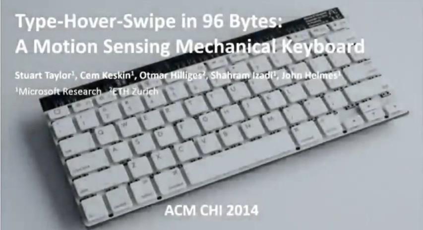 Microsoft Research zeigt eine mechanische Tastatur, die Hover und Swipe Gesten erkennt