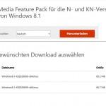 Windows 8.1 Update (1) das Media Feature Pack nachinstallieren KB2929699
