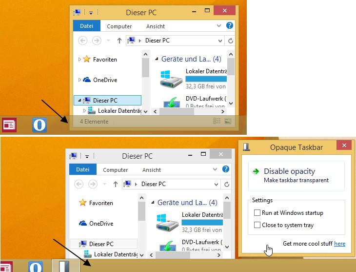 Durchsichtige Taskleiste deaktivieren Windows 8.1 und 8