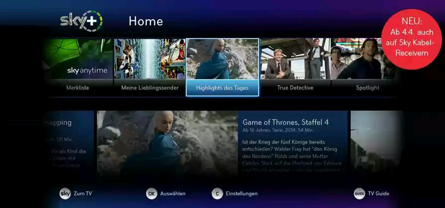 Sky Home nun auch für Kabeluser verfügbar