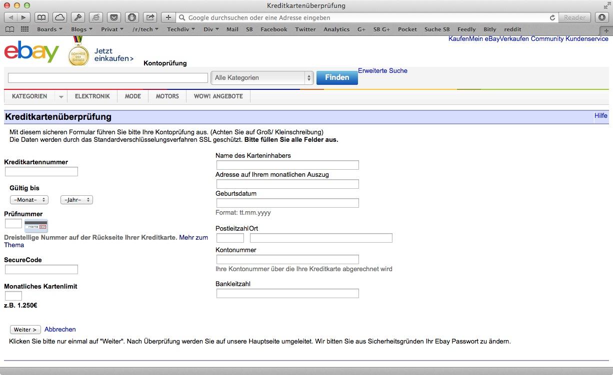 """Pishing: Vermeintliche Mails von ebay zum Thema """"Käuferschutz"""""""